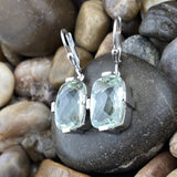 Green Amethyst earrings set in 925 Sterling Silver