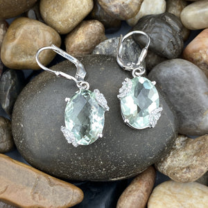 Green Amethyst and White Topaz earrings set in 925 Sterling Silver
