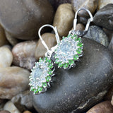 Green Amethyst, White Topaz and Chrome Diopside earrings set in 925 Sterling Silver