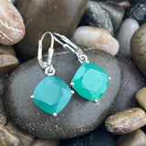 Green Onyx earrings set in 925 Sterling Silver