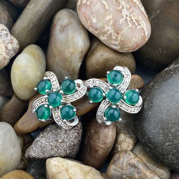 Green Onyx and White Topaz earrings set in 925 Sterling Silver