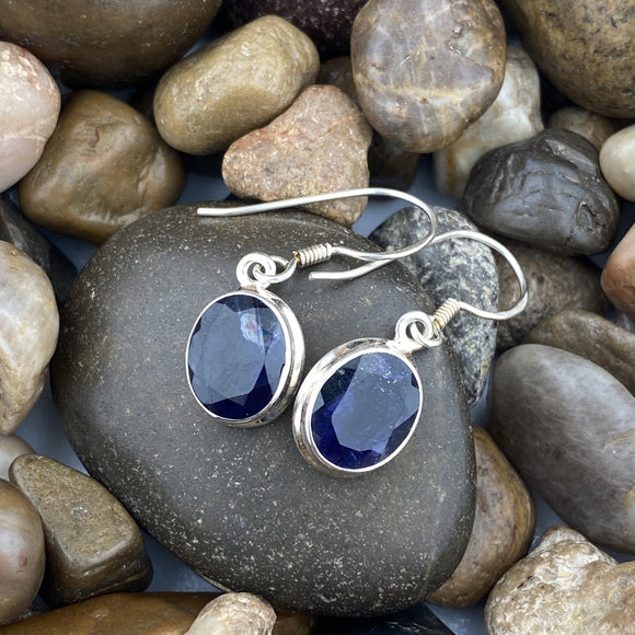 Iolite earrings set in 925 Sterling Silver