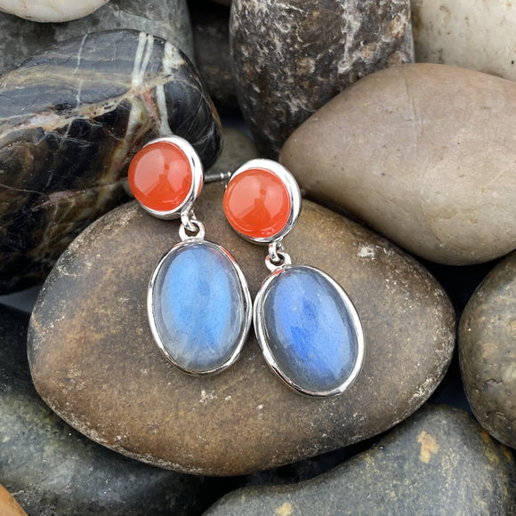 Labradorite and Carnelian earrings set in 925 Sterling Silver