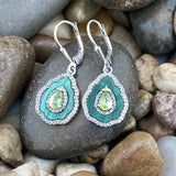 Malachite, Peridot and White Topaz earrings set in 925 Sterling Silver