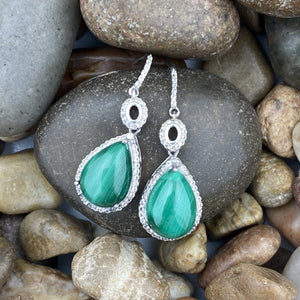 Malachite and White Topaz earrings set in 925 Sterling Silver