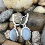 Grey Moonstone and White Topaz earrings set in 925 Sterling Silver