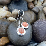 Peach Moonstone and White Topaz earrings set in 925 Sterling Silver