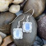 Moonstone and White Topaz earrings set in 925 Sterling Silver