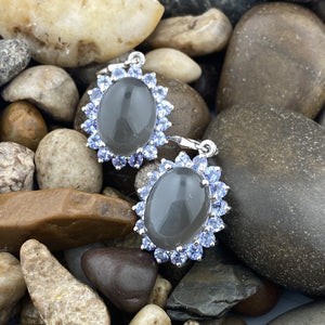 Grey Moonstone and Tanzanite earrings set in 925 Sterling Silver