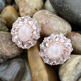 Rose Gold Finish Morganite earrings set in 925 Sterling Silver