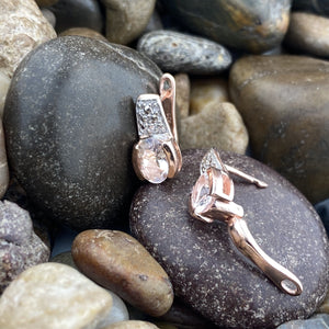Rose Gold Finish Morganite and White Topaz earrings set in 925 Sterling Silver