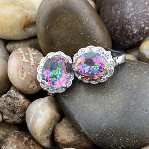 Mystic Topaz and White Topaz earrings set in 925 Sterling Silver