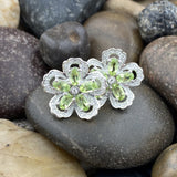 Peridot and White Topaz earrings set in 925 Sterling Silver