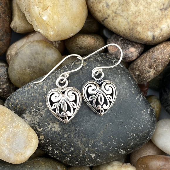 Plain Silver Heart shaped earrings set in 925 Sterling Silver