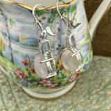 Rose Quartz and White Topaz earrings set in 925 Sterling Silver