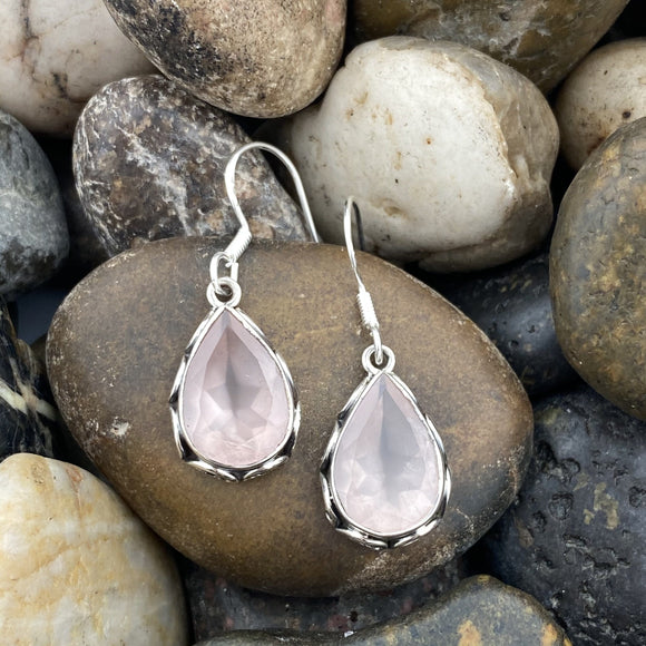 Rose Quartz earrings set in 925 Sterling Silver