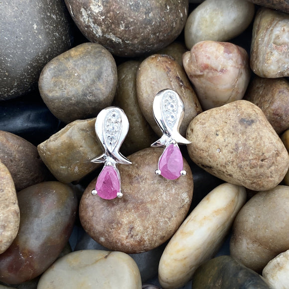 Ruby and White Topaz earrings set in 925 Sterling Silver