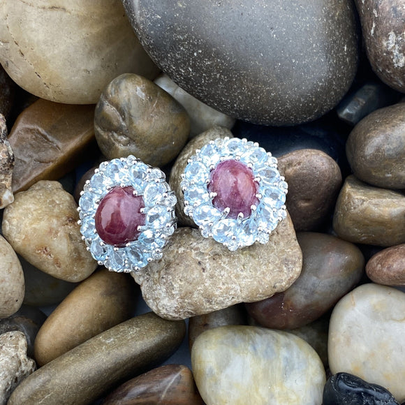 Ruby, Blue Topaz and White Topaz earrings set in 925 Sterling Silver