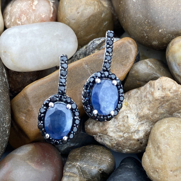 Sapphire and Spinel earrings set in 925 Sterling Silver