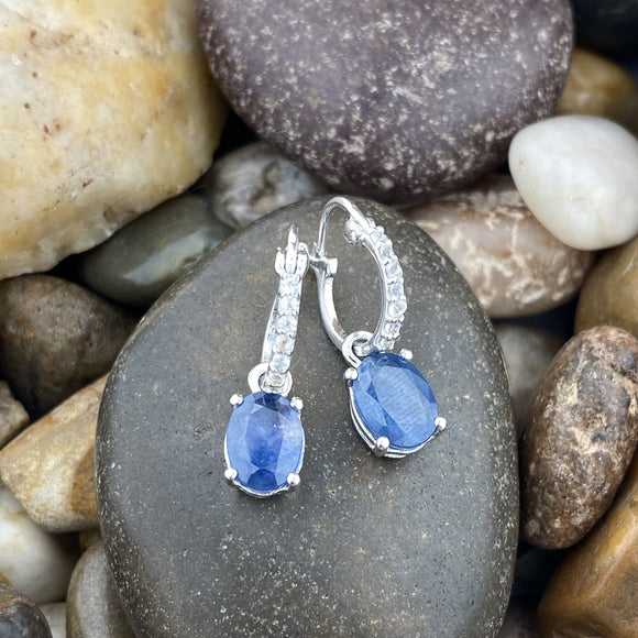 Sapphire and White Topaz earrings set in 925 Sterling Silver