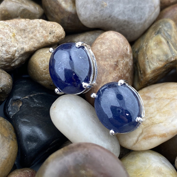 Sapphire earrings set in 925 Sterling Silver