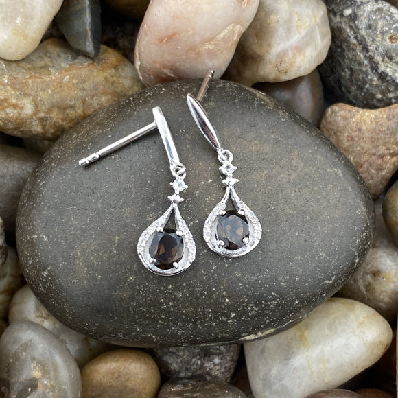 Smokey Quartz and White Topaz earrings set in 925 Sterling Silver