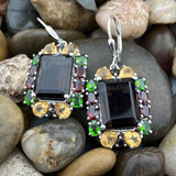 Smokey Quartz, Citrine, Garnet and Chrome Diopside earrings set in 925 Sterling Silver