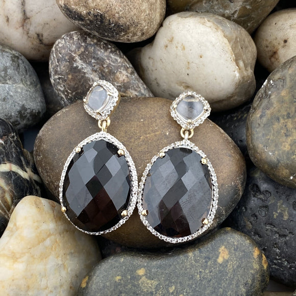 14K Gold Vermeil Smokey Quartz, Crystal Quartz and White Topaz earrings set in 925 Sterling Silver