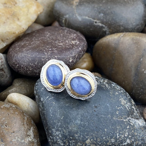 Gold Finish Tanzanite earrings set in 925 Sterling Silver