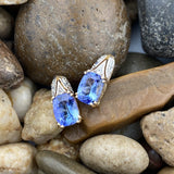 Gold Finish Tanzanite and White Topaz earrings set in 925 Sterling Silver