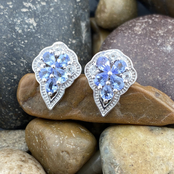 Tanzanite and White Topaz earrings set in 925 Sterling Silver