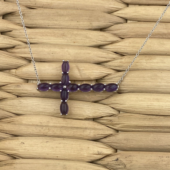 Amethyst necklace set in 925 Sterling Silver
