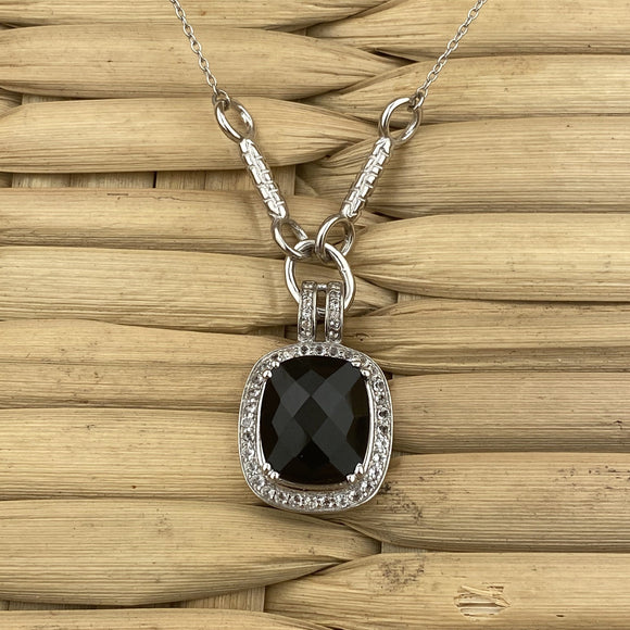 Black Onyx and White Topaz necklace set in 925 Sterling Silver