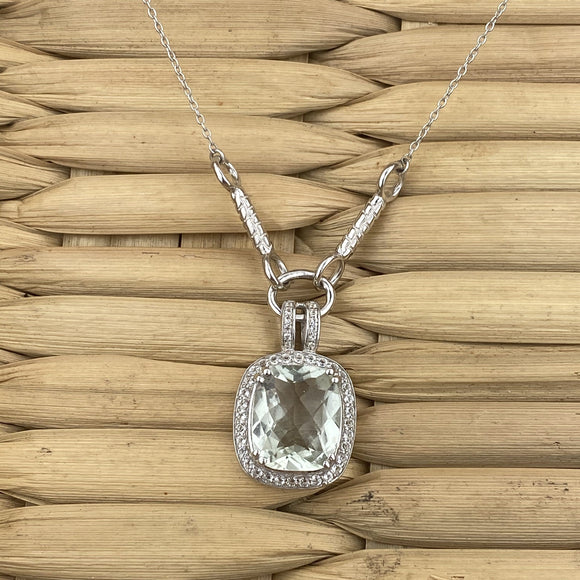 Green Amethyst and White Topaz necklace set in 925 Sterling Silver