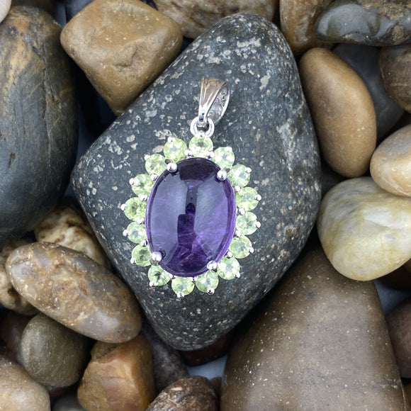 Amethyst and Peridot pendant set in 925 Sterling Silver