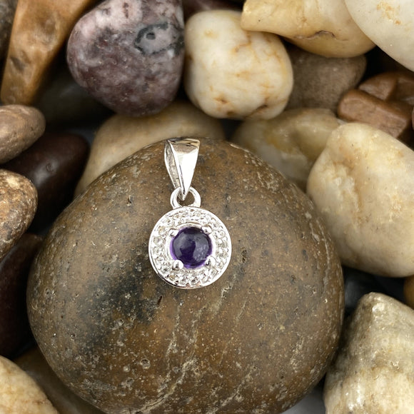 Amethyst and White Topaz pendant set in 925 Sterling Silver
