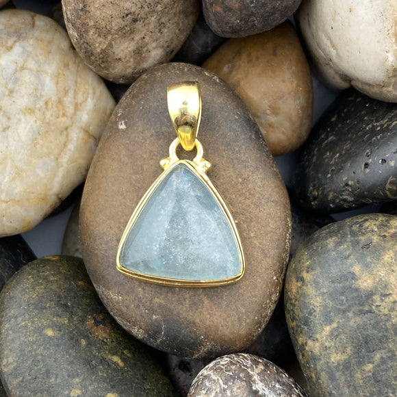 14K Gold Vermeil Aquamarine pendant set in 925 Sterling Silver