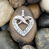 Aquamarine and White Topaz Heart pendant set in 925 Sterling Silver