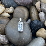 Aquamarine and Diamond pendant set in 925 Sterling Silver