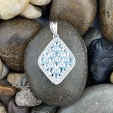 Aquamarine and White Topaz pendant set in 925 Sterling Silver