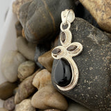 Black Onyx and Smokey Quartz pendant set in 925 Sterling Silver