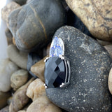 Black Onyx and Tanzanite pendant set in 925 Sterling Silver