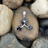 Black Onyx and White Topaz pendant set in 925 Sterling Silver