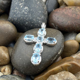 Blue Topaz Cross pendant set in 925 Sterling Silver