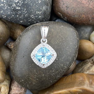 Blue Topaz and White Topaz pendant set in 925 Sterling Silver