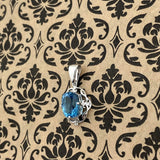 London Blue Topaz and White Topaz pendant set in 925 Sterling Silver