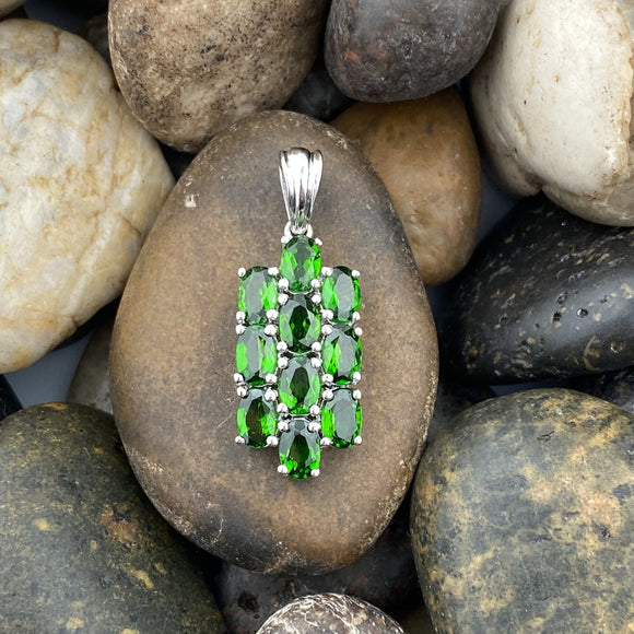 Chrome Diopside and White Topaz pendant set in 925 Sterling Silver