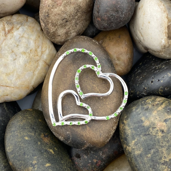 Chrome Diopside Heart pendant set in 925 Sterling Silver