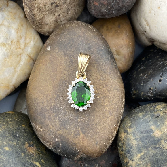 14K Gold Vermeil Chrome Diopside and White Topaz pendant set in 925 Sterling Silver