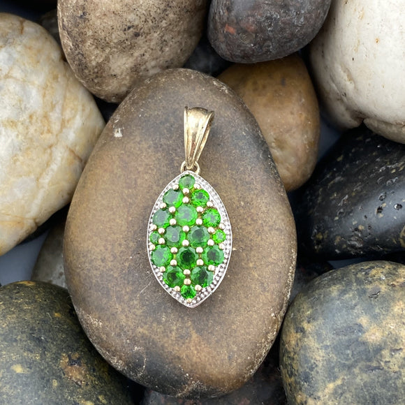 14K Gold Vermeil Chrome Diopside pendant set in 925 Sterling Silver
